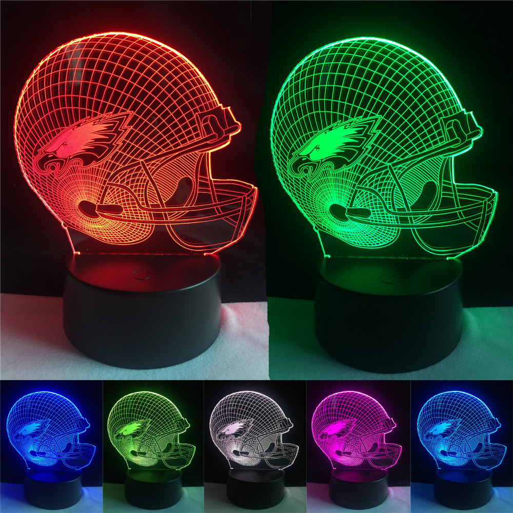 Drop Shipping Footbal Team Sports Fans Wing Cap Helmet Lamp Gifts 7 Colors Changing Gradient Visual Night Light Party Home Decor