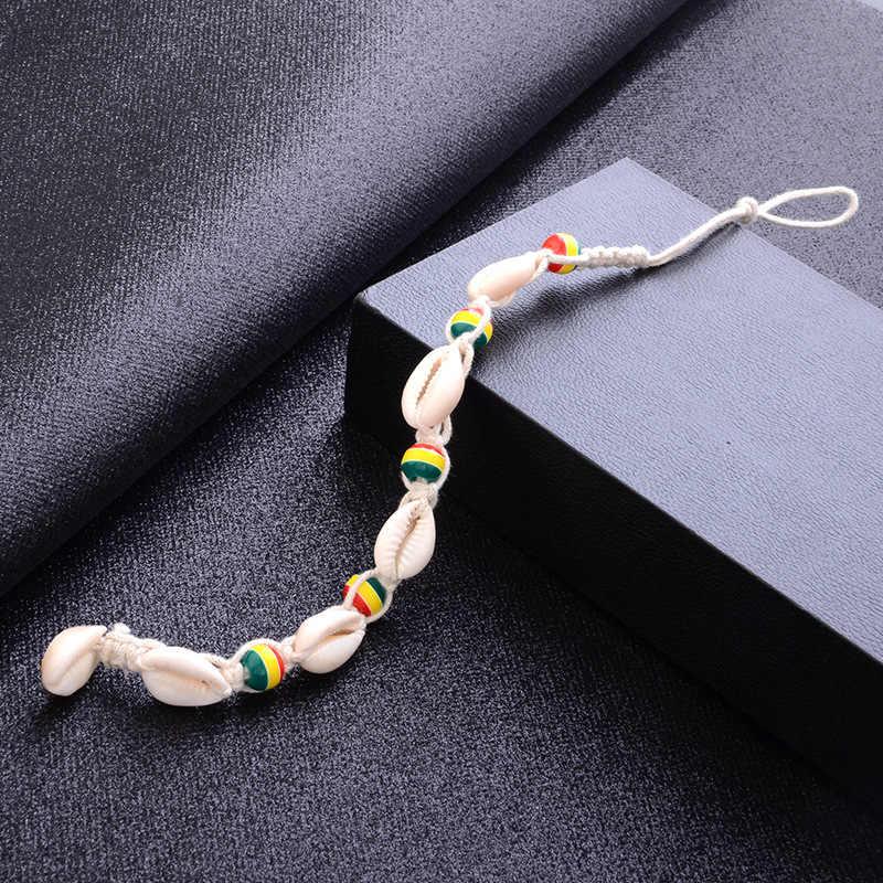 Sindlan Renkli ahşap boncuklar Doğal Kabuk Ayak Bilezik Halhal Kadınlar için Plaj Sandal Yalınayak Bacak Bilezik Bohemia Ayak Bileği Mücevher