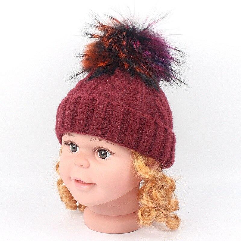 Kids Real Fur Pom Pom Hat Baby Winter Crochet Earflap Hat Girls Boys Knitted