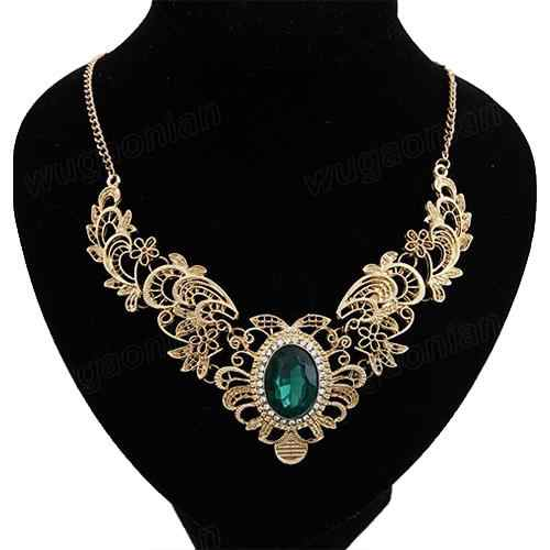 Boho Vintage Vrouwen Luxe Party Hollow Out Bloem Oval Rhinestone Verklaring Bib Ketting indian Lady Dress Choker Grote Ketting