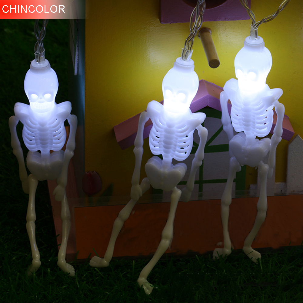 2.5/5m 10/20leds Halloween Holiday lights Scary Skeleton Led Light string 12cm EU Plug Wine Bar Easter Garden decoration DA