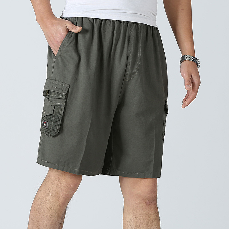 LANBAOSI Men Beach Shorts 2018 Cotton Board Shorts Pocket Male Loose Shorts Man Military Short Pants Plus Size Y50