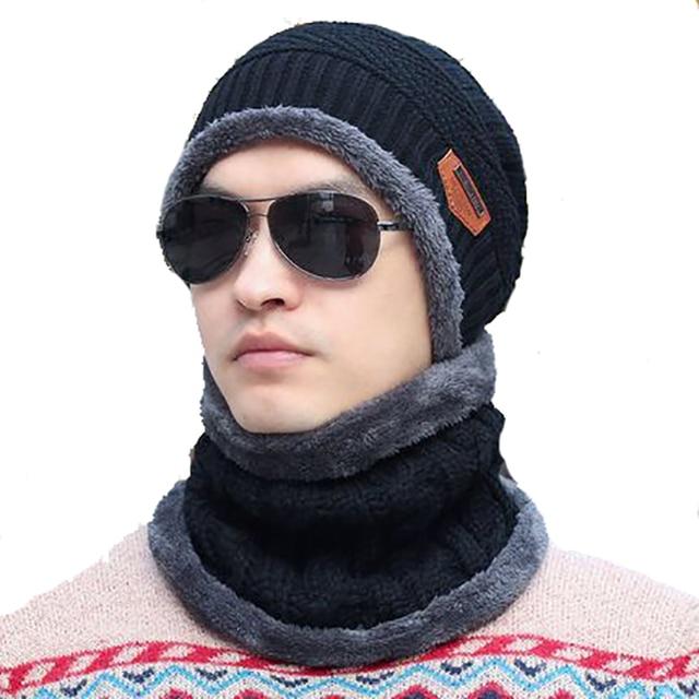 f70d885c22c Set Winter Wool Fleece Neck Warmer Tube Face Mask Scarf Earmuffs Gorro Caps  Knitted Hats Hood