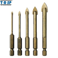 Free Shipping 4 Piece Titanium Coated Ceramic Tile Marble Mirror Glass Drill Bits Set 4 6
