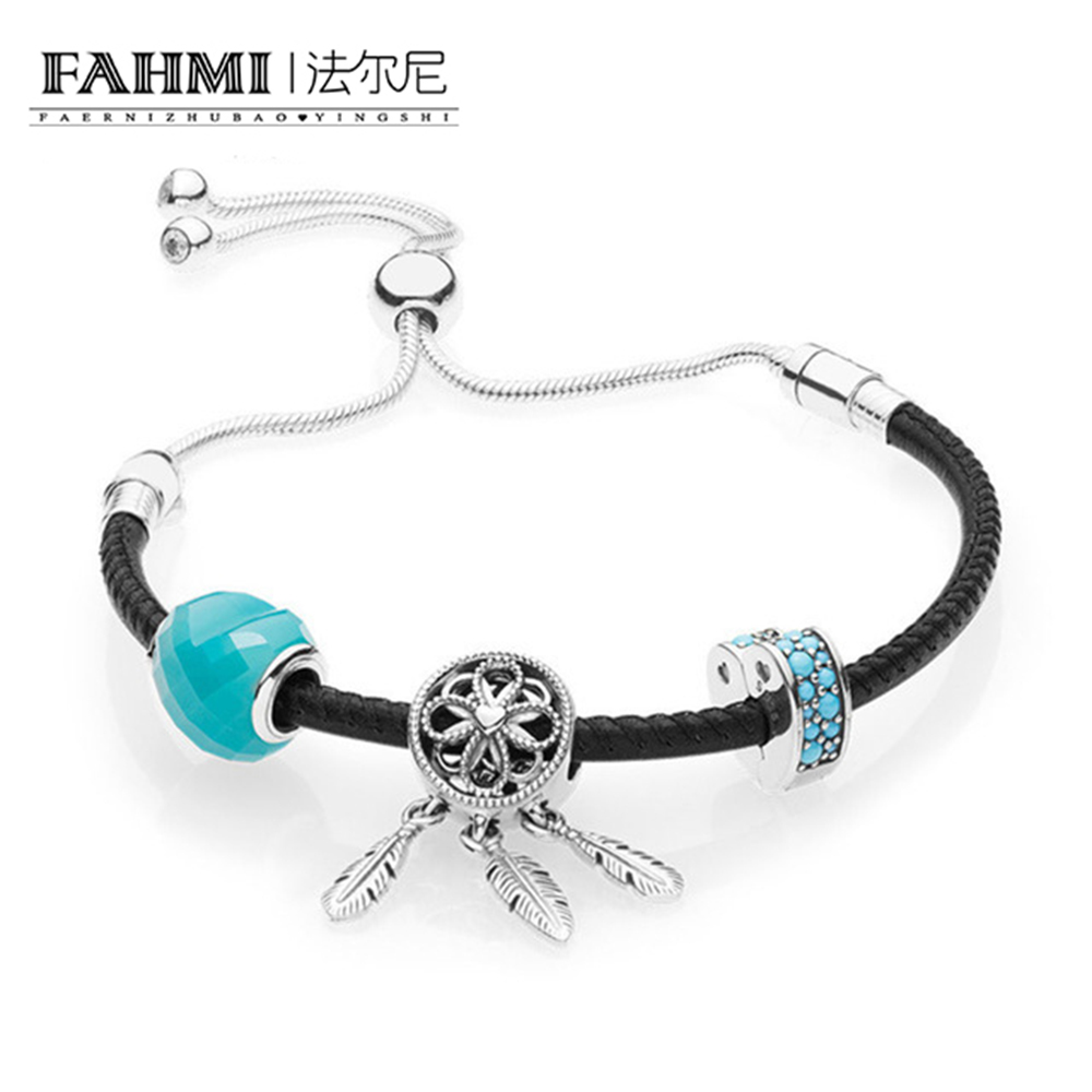 FAHMI 100% 925 Sterling Silver 1:1 Genuine New Charm Summer Moving Women's Black Hand Strap Handwear Original Women Jewelry