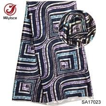 Digital printed wax design stretch satin fabric African pattern silk for dress free shipping SA17023