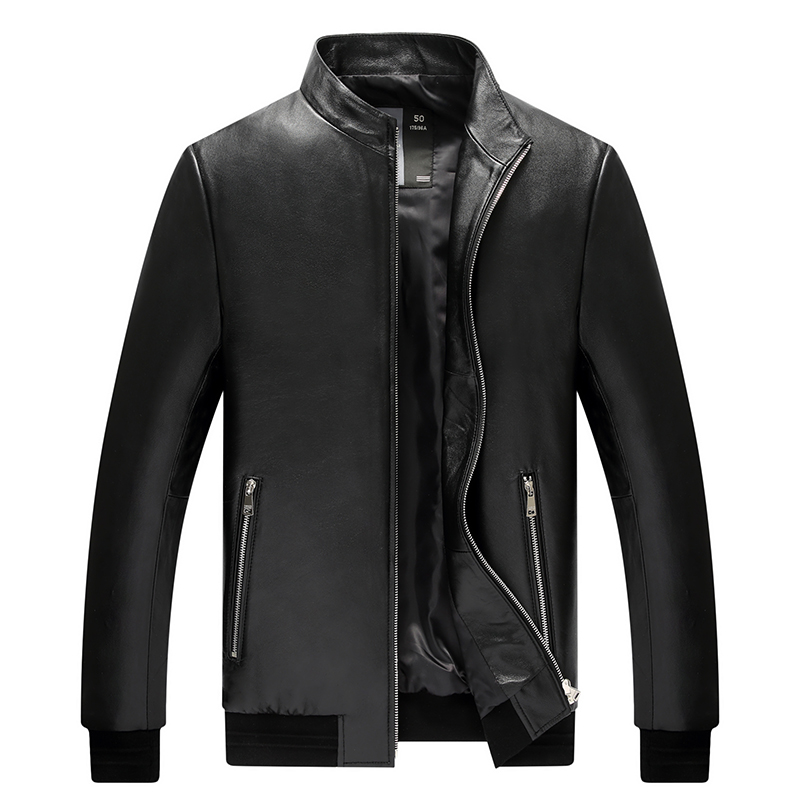 Autumn And Winter New Leather Men Men Haining First Layer Of Sheep Skin Slim Leather Leather Jacket(China)