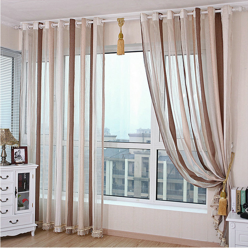 Chenille Sheer Curtains For Living Room Bedroom Vertical
