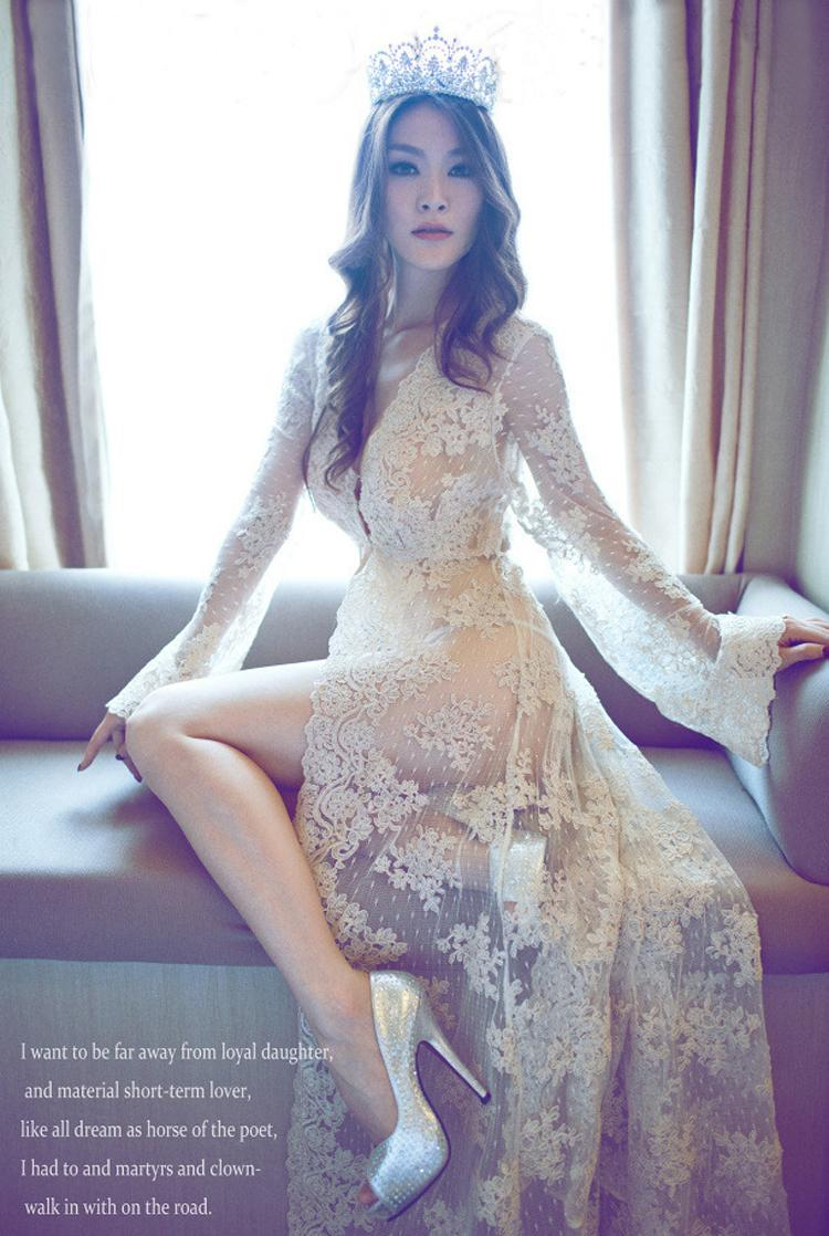 so sweet floor length lace embroidery dress women sexy transparent