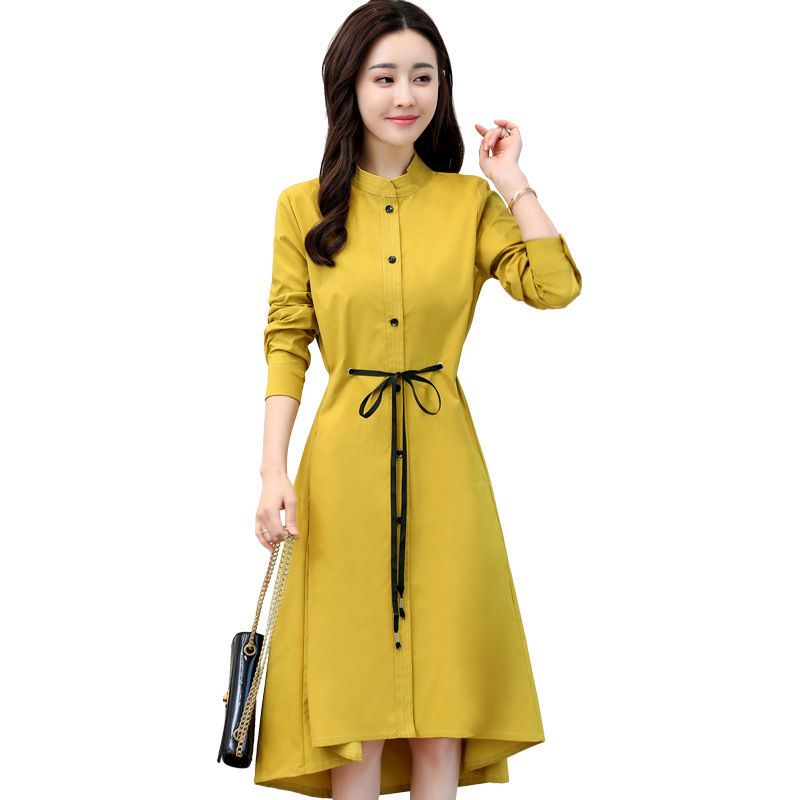 2018 Spring New Large Size Women's Dress Korean Long Sleeve Lace Up Waist Fashion Was Thin Long   Trench   Coats Women Autumn A228