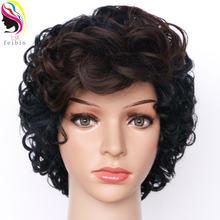 Feibin короткие парики для черных женщин синтетический афро