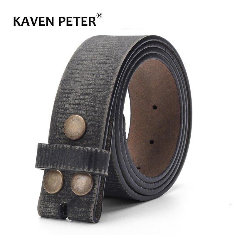 Ceinture Vintage sans boucle pour hommes 100% ceinture en cuir véritable pour Jeans largeur 3.8 CM sangle en peau de vache avec une couche de cuir