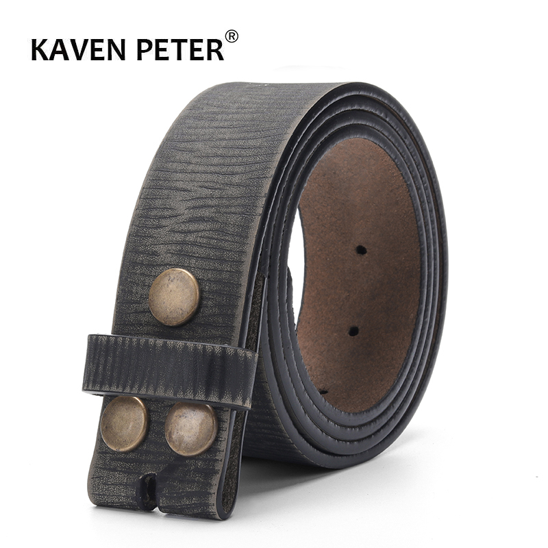 Vintage   Belt   Without Buckle For Men 100% Genuine Leather   Belt   For Jeans 3.8 CM Width Cowskin Strap With One Layer Leather