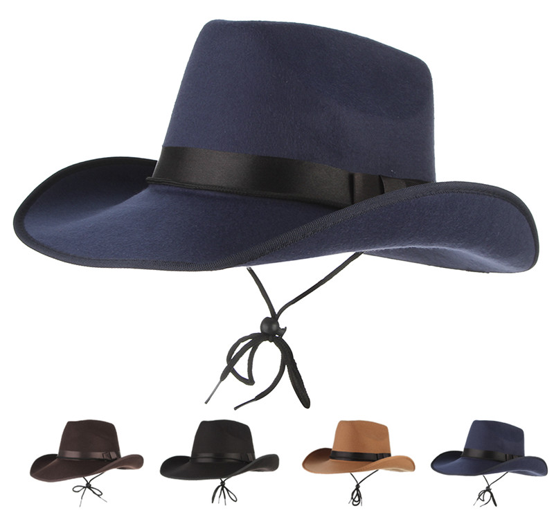 4 Colors Vintage Western Cowboy Hats For Men Wide Brim Sun Visor Cap ... c39fc133a5bc