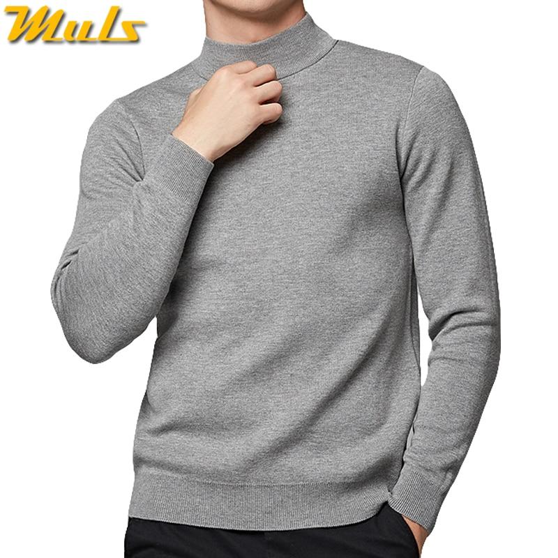 Mock-neck Sweater Men High Quality Cotton Knitted Turtlenck Men Pullover Autumn Winter Turtle-neck Men Sweater Muls Brand