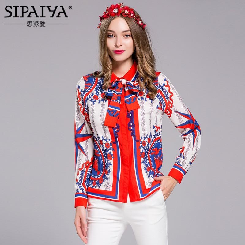 SIPAIYA 2017 Primavera Verano Vintage Blusas Para Mujer Turn Down Cuello de Mang