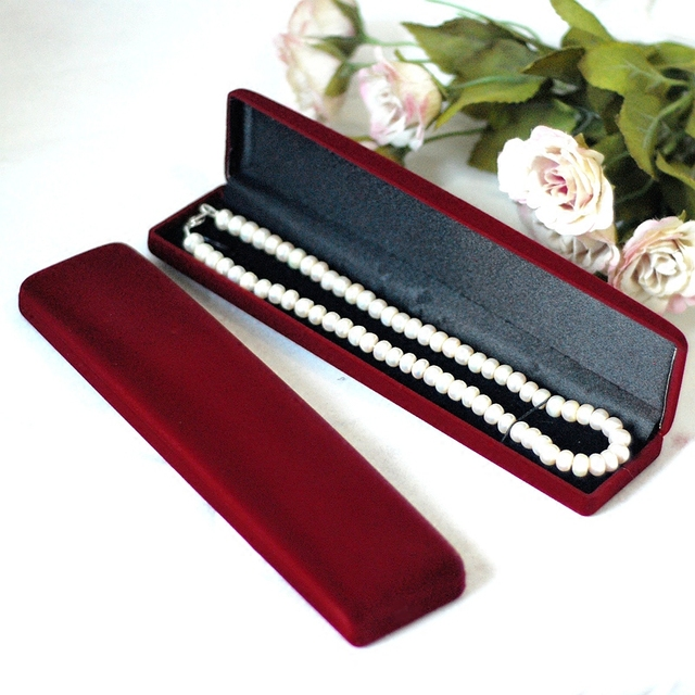 Dark Red Velvet Necklace Bracelet Box 10pcslot Long Jewellery Watch