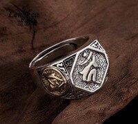 Lengkea jewery Men rings Vintage 925 Sterling Silver ring Lucky symbol opening ring men Jewelry men accessories boyfriend Gifts