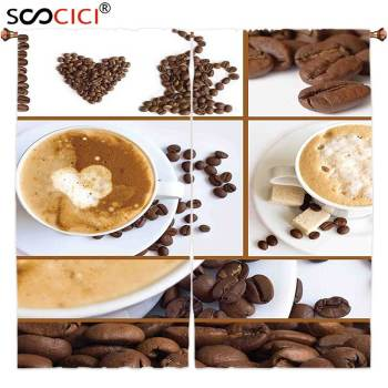 Window Curtains Treatments 2 Panels,Kitchen Coffee Themed Collage of Beans Mugs Hot Foamy Drink with a Heart Macro Aroma