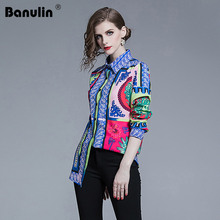 Banulin 2019 Spring High Quality Runway Woman Womens Tops And Blouses Fashion New Luxurious Printed Long Sleeve Shirts Plus Size