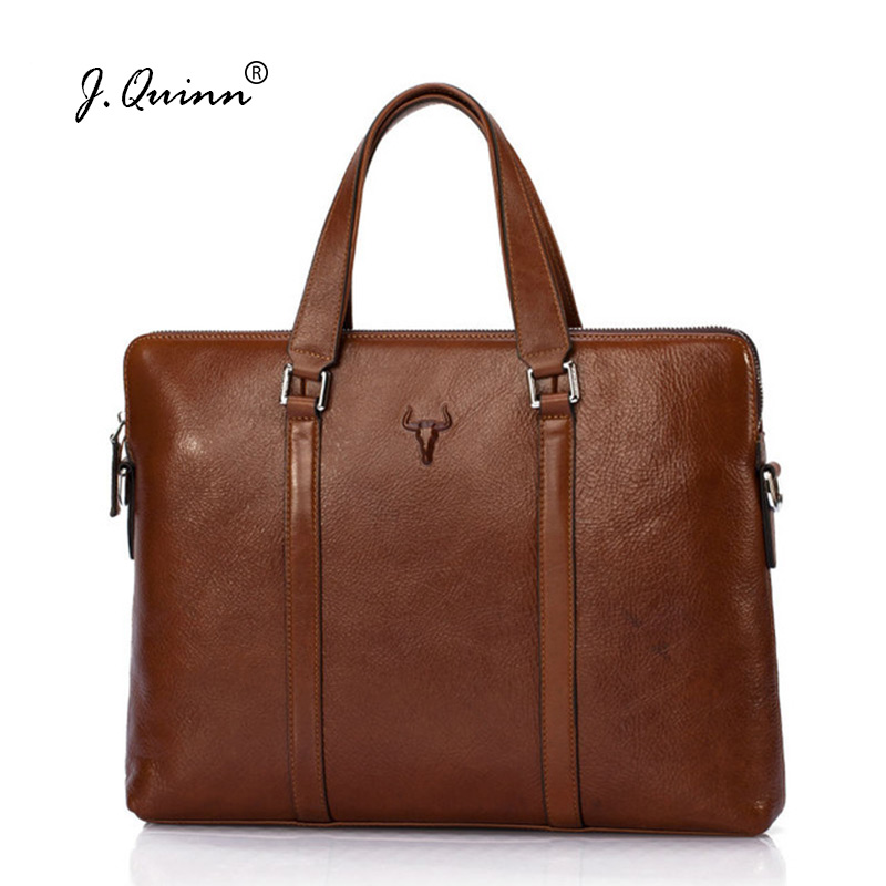J.Quinn Brand Briefcases for Men Women Genuine Oil Wax Leather Handbags Business Laptop Bag Totes Male Female Large Bags Luxury miwind 2017 new women bag cow oil wax leather handbags letter v shoulder bags female luxury casual totes simple fashion portable