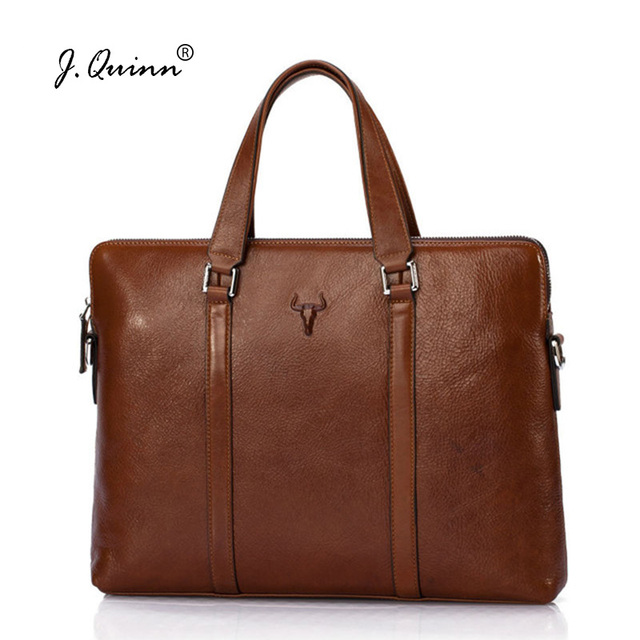 J.Quinn Brand Briefcases for Men Women Genuine Oil Wax Leather Handbags Business Laptop Bag Totes Male Female Large Bags Luxury