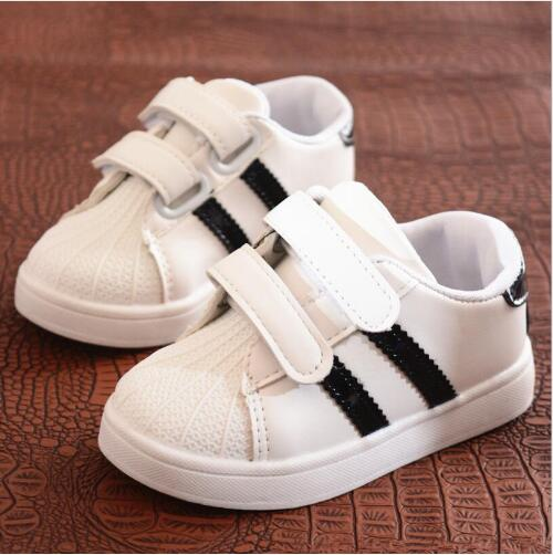 White Autumn Sport Shoes Boys Girls Casual Sneaker Brand New Baby PU Leather Breathable Flat Sneakers Toddler Shoes