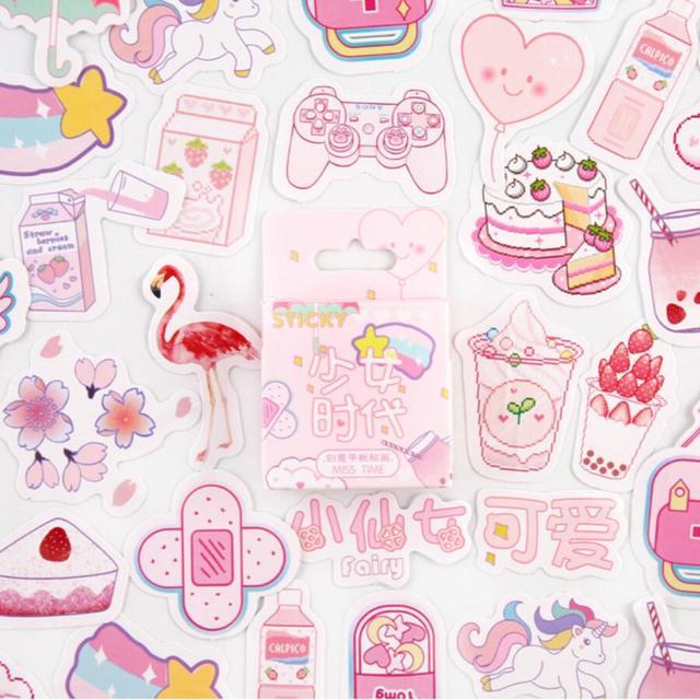 Girlhood Rosa bala revista pegatinas decorativas papelería pegatinas DIY Scrapbooking diario álbum palo etiqueta