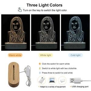 Image 5 - دروبشيبينغ مخصصة ثلاثية الأبعاد ليلة ضوء USB قاعدة خشبية لتقوم بها بنفسك ليلة مصباح لل زفاف هدية الكريسماس عطلة ضوء مخصص النص صور