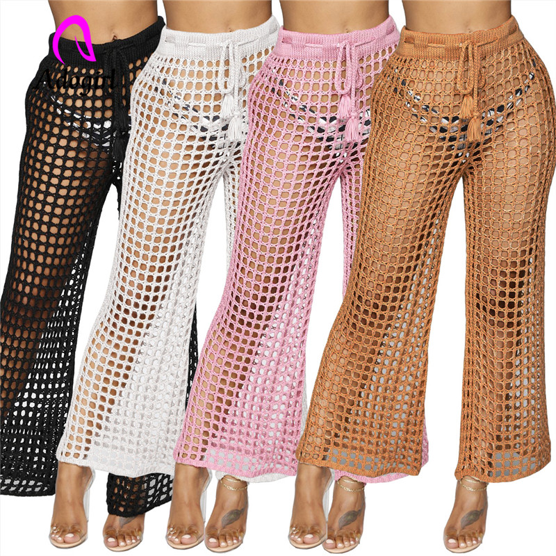 Adogirl   wide   mesh transparent female   pants   waist belt knitted sexy trousers big net full meshed long bottoms   wide     leg     pants
