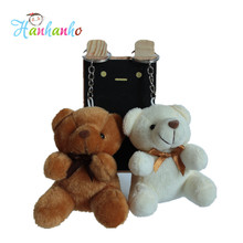Wholesale 20pcs/Lot 8cm Mini Plush Teddy Bear Key Chain Small Stuffed Animal Pendant Wedding Gift Metal Key Ring