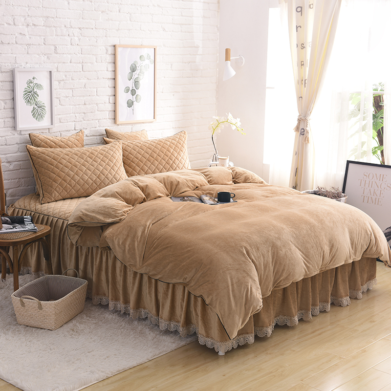 US $22.3 36% OFF|Light brown Violet Pink Gray Red Soft Fleece Fabric Winter  Thick Bedding set Duvet Cover Bed sheet Bed skirt Pillowcases 4/6pcs-in ...