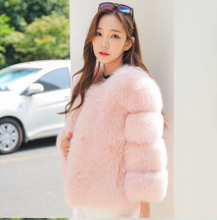 Новое поступление, модное женское меховое пальто, высокое качество, искусственный Лисий мех, пэтчворк, короткое пальто, женская зимняя теплая куртка, парка - Цвет: pink