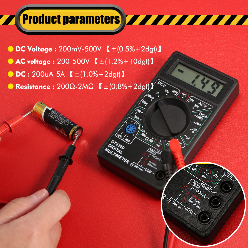 1Pcs Digital Multimeter with Buzzer Voltage Ampere Meter Test Probe DC AC LCD New1Pcs Digital Multimeter with Buzzer Voltage Ampere Meter Test Probe DC AC LCD New