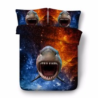 3D printed animal shark comforter bedding sets single twin double full queen king cal king pink rainbow duvet cover set 3/4pcs