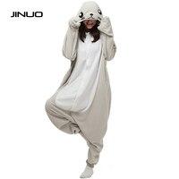 JINUO Unisex Adults Gray Seal Cartoon Costume Pajama Halloween Christmas Onesies Unisex Teenagers Famous Brand Cartoon