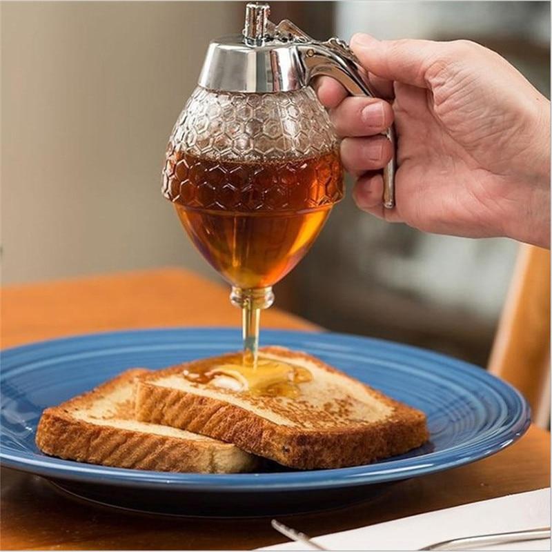 Honey Dispenser Jar Container <font><b>Cup</b></font> Portable Acrylic Storage Pot Juice Bee Drip Bottle <font><b>Cooking</b></font> Tool Craft Acrylic Storage Pot