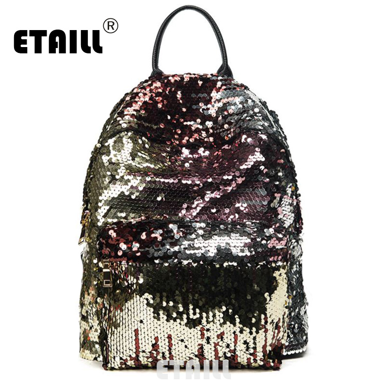 ETAILL Top Quality Girls Sequins Backpack Women Paillette Leisure Popular School Book Bags PU Leather Small Glitter Bling Bag womens fashion cute girls sequins backpack paillette leisure school bookbags leather backpack ladies school bags for teenagers