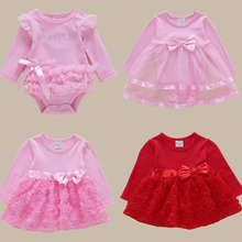 Hot Newborn Baby Dress Summer Lace Bow 1 Year Old Girl Party New Born Dresses 3 69 Months Christening dress