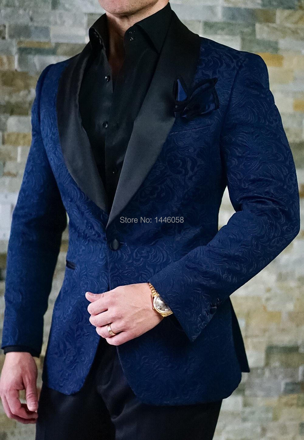 Costume Homme 2018 Gentleman Bespoke Mens Suits Classic Terno Slim Navy Blue Printed Men Suits With Pants Wedding Groom Tuxedos