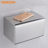 Stainless Steel Toilet Paper Box With Shelf Phone Holder Kitchen Waterproof Wall Mount Sus304 Adhesive AMB0005