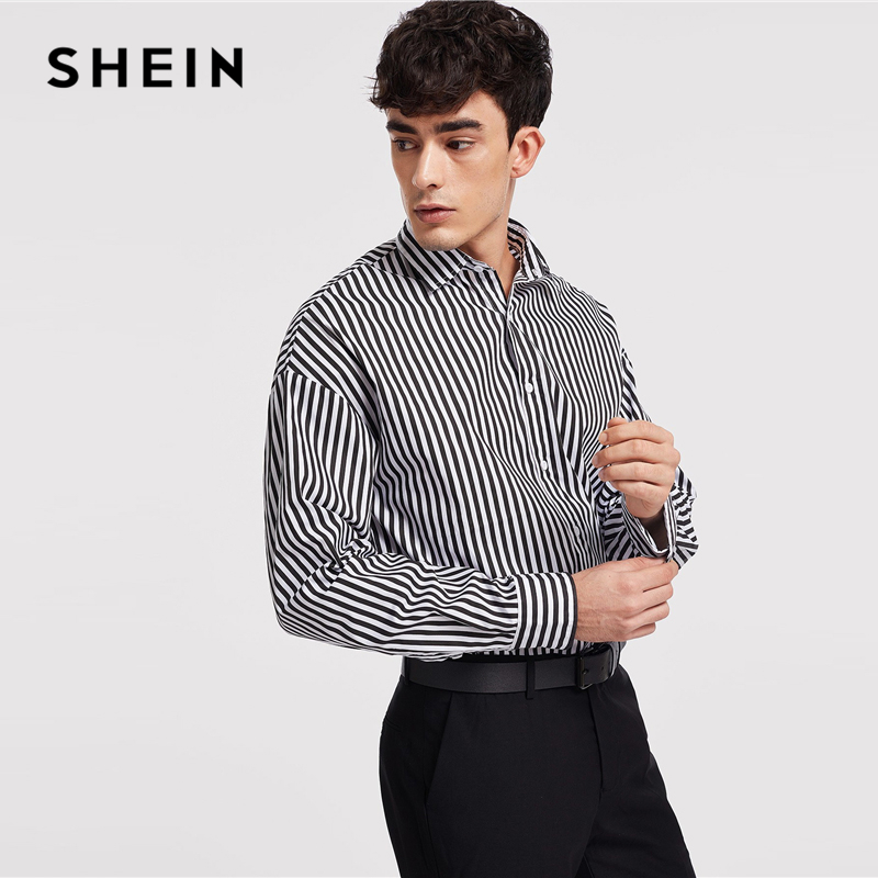 4af9cab870 SHEIN Black And White Minimalist Button Front Striped Long Sleeve Shirt  Autumn Business And Leisure Mens Shirts And Tops-in Casual Shirts from Men's  ...