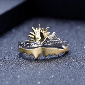 Image 2 - GEMS בלט זהב ציפוי 925 כסף טבעת נישואים טבעת בעבודת יד מתכוונן להרחיב טבעת תכשיטי אירוסין לגברים