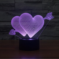 Creative 3D illusion LED Night Light Arrow Through Heart Acrylic Discoloration Colorful Atmosphere Lamp Novelty Light