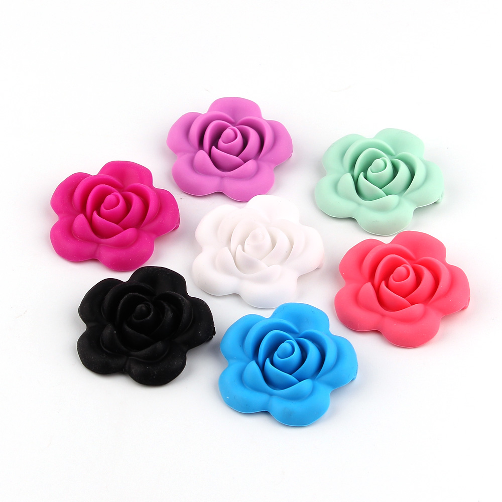 TYRY.HU 5Pcs Rose Flower Shaped Silicone Beads Teething Baby Teether  Food Grade Silicone Chewing Tooth Toy  BPA Free
