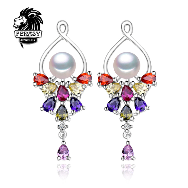 FENASY Pearl Emerald ruby earrings Pearl Jewelry Women 925 sterling silver Punk earrings Charm Bohemia flower earrings