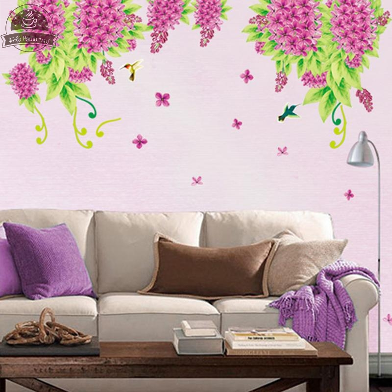 Purple Lilac Flowers DIY Vinyl Wall Stickers Home Decor