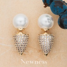 Newness Brand Fashion Shape Trendy Elegant CZ Pearl Earrings Jewelry For Women Gift