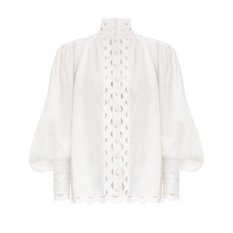 Murciélago Mujer Principios Negro Manga Camisas Moda Hueco Primavera Mancave Ondulado 2019 De Collar Blanco La blanco 1znqOdw