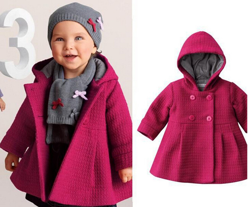 Winter Baby Girl Warm Fleece Pea Coat Toddler Snow Hooded Jacket ...